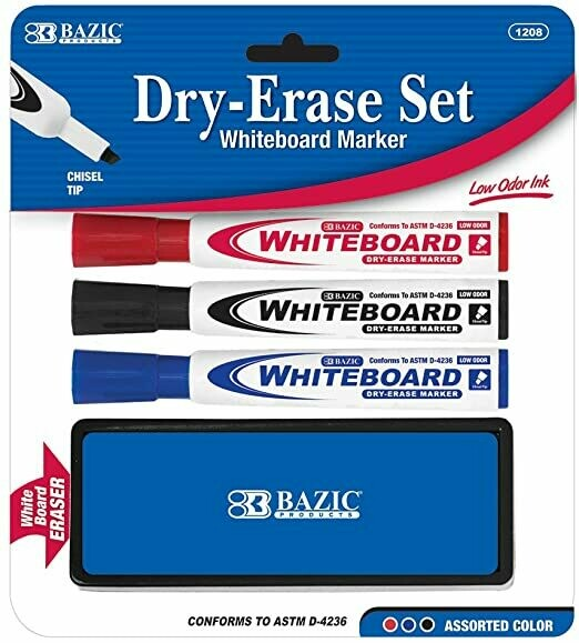 BAZIC // Dry Erase Marker with Eraser 3 Assorted Colors Chisel Tip