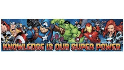 Marvel Superheroes 'Knowledge is Our Super Power' Poster and Classroom Decoration, 12'' x 45''