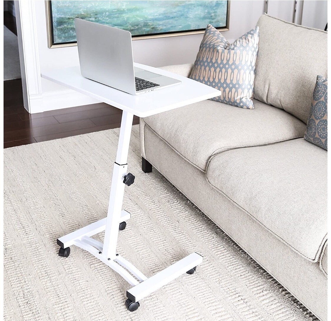 Mesa ergonómica para ordenador portátil (23,6 pulgadas), color blanco