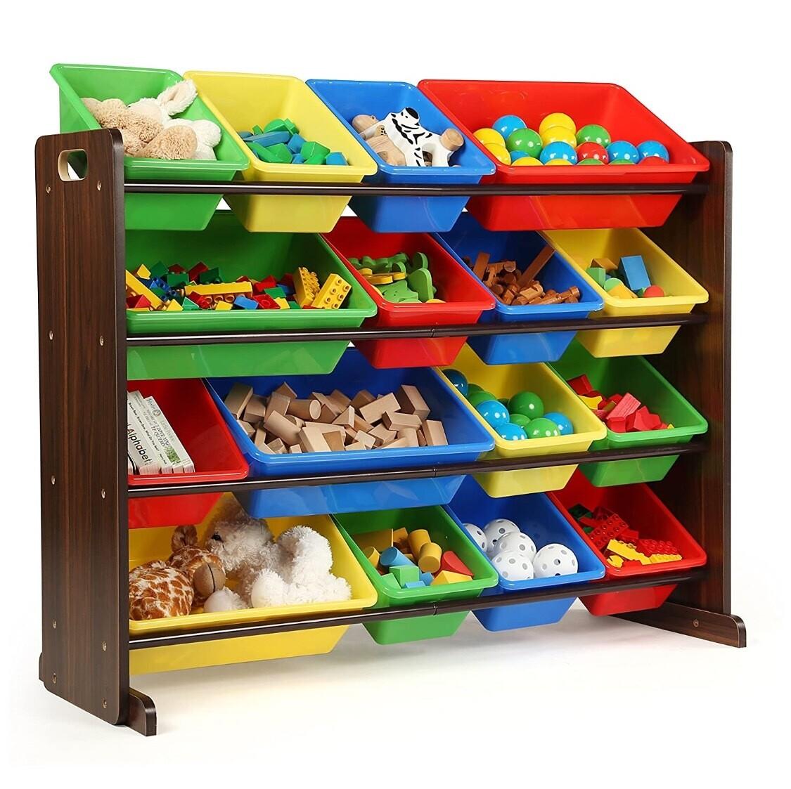 Organizador para almacenamiento de juguetes para niños, Plástico Madera, Espresso/Primario