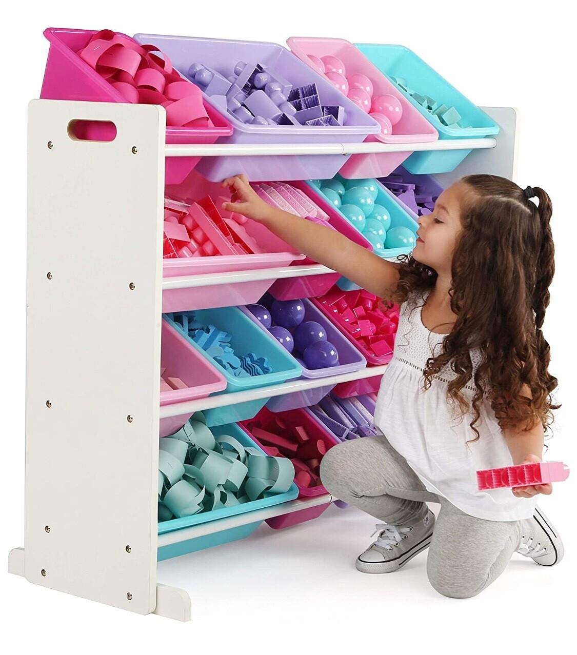Organizador para almacenamiento de juguetes para niños, Plástico, Blanco/Azul/Rosa/Púrpura