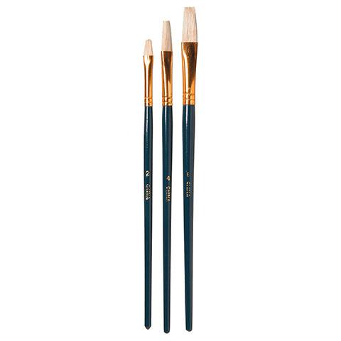 Artists Brush Set - White Bristle - Flat - Size #2, #4 and #6