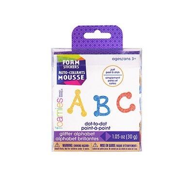 Foamies® Glitter Alphabet Sticker Bucket - Dot to Dot Font - 1 oz
