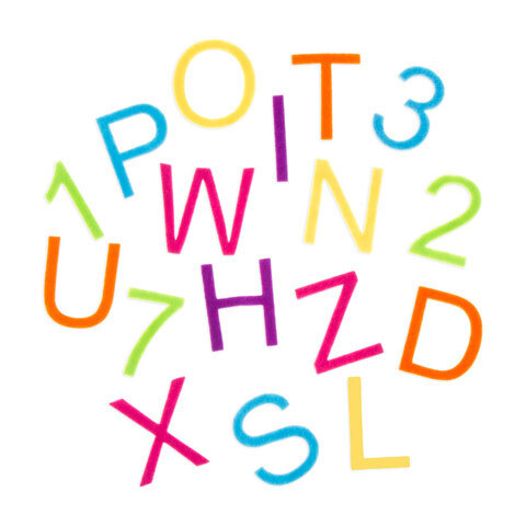 Felt Alphabet Letter Stickers - Bright Colors - 2 inches - 79 pieces