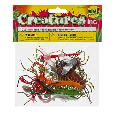 Plastic Insects - 2 inches - 16 pieces