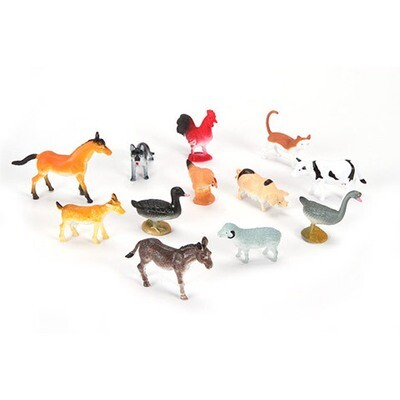Plastic Farm Animals - 2 inches - 12 pieces
