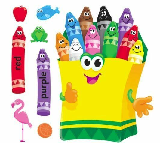Colorful Crayons Bulletin Board Set