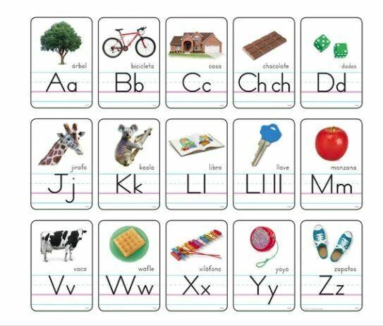 Cartas del abecedario con fotos Manuscrito - (Spanish) Bulletin Board Set