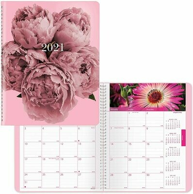 2021 Monthly Planner, 14 Months, with Floral Images Each Month, Pink