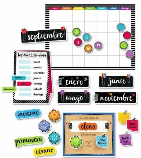 Bold & Bright Spanish Calendar Set Bulletin Board