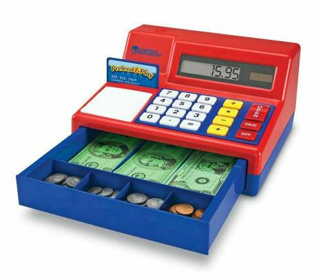 Educational Pretend & Play Calculator Cash Register w/Play Money