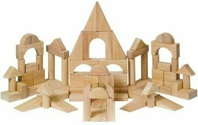 Hardwood Unit Deluxe Building Block 76 Pieces - Kids Learning Preschool Educational Toy