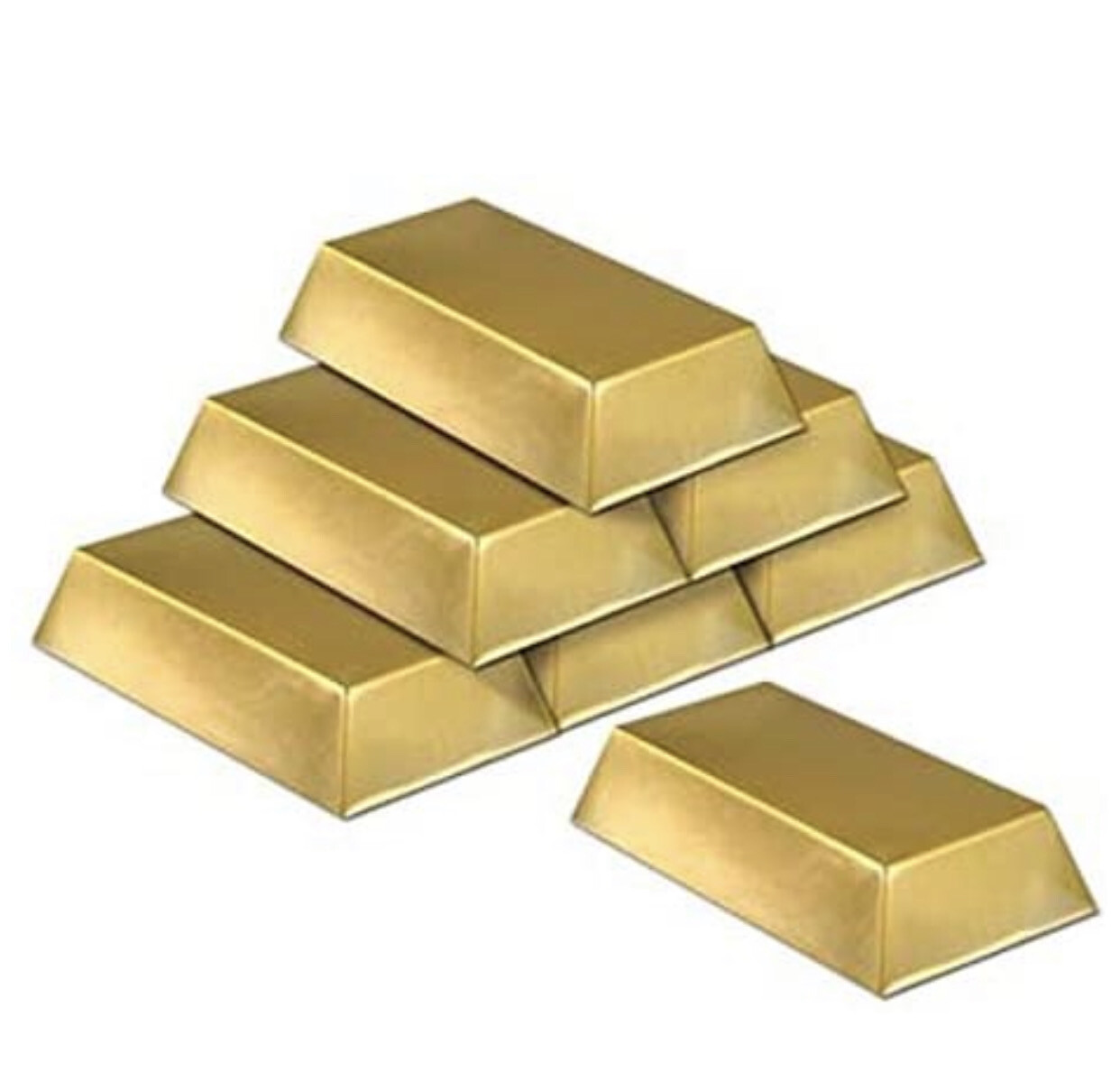 Plastic Gold Bar / Lingotes De Oro (pk-6)