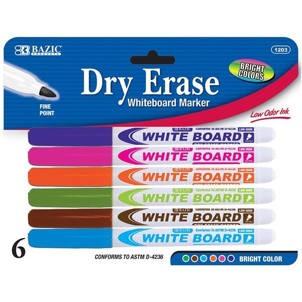Dry Erase Markers Fine (pk-6)