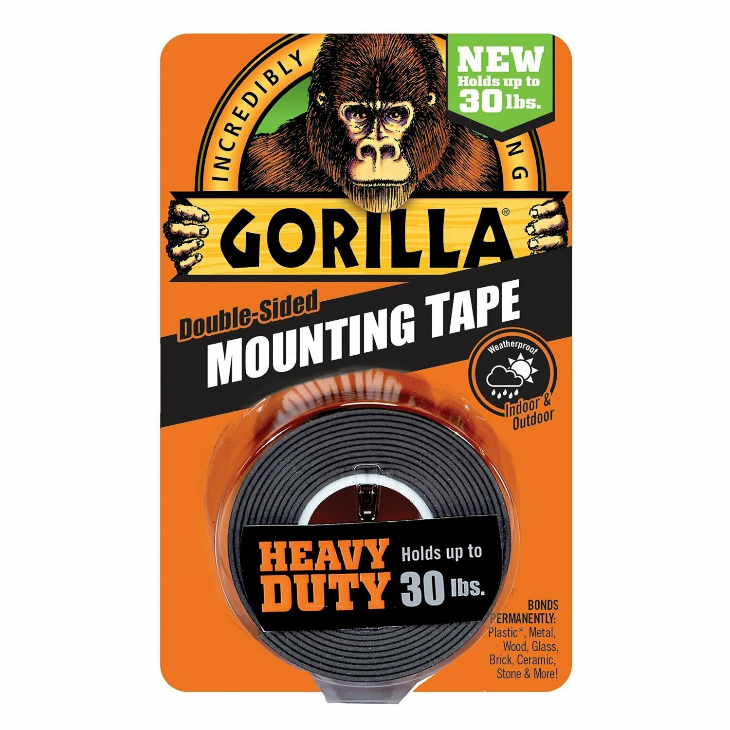 "Heavy Duty Mounting Tape, Double-Sided, 1"" x 60"", Black"