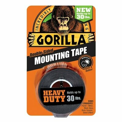 """Heavy Duty Mounting Tape, Double-Sided, 1"""" x 60"""", Black"""