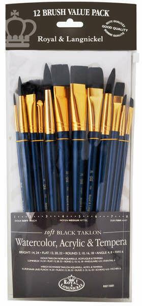 Brushes Black Taklon (pk-12)