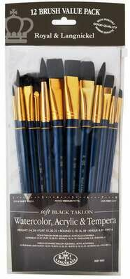 Royal Brushes Black Taklon (pk-12)