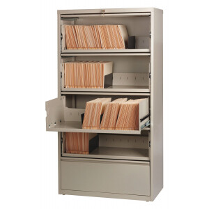 """Hirsh Industries® HL8000 Series® 36""""W Receding Drawer Front Lateral File 5-Drawer - Putty"""