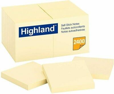 """Self-Stick Pads, Highland 1-1/2 x 2"""", Yellow"""