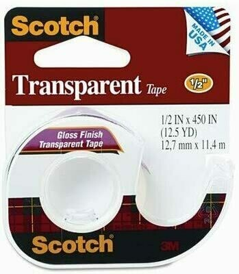 "Tape Scotch Transparent 1/2"" x 450"", BC [Docena] [3M 144]"