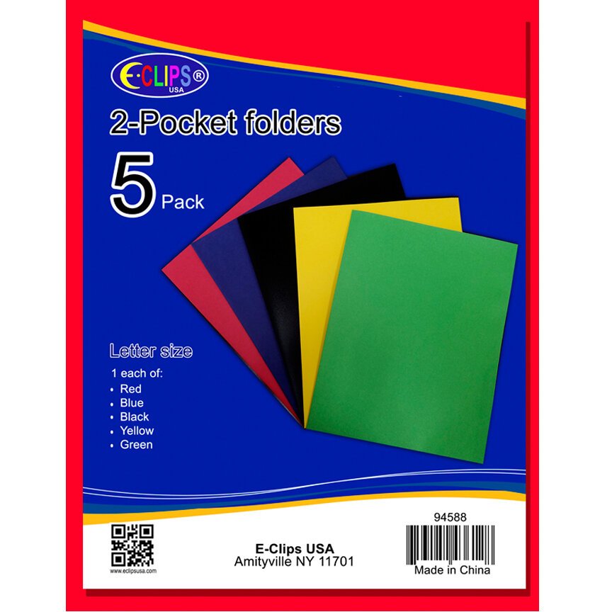 Twin Pocket 5/Pk Assorted Colors