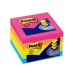 """Self-Stick Pads, Post It 3 x 3"""" Pop Up Neon Assorted Colors [pk-5)"""