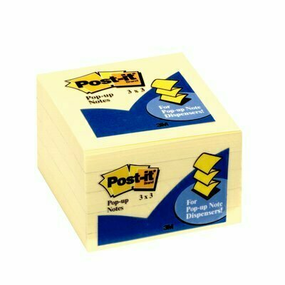 "Self-Stick Pads, Post-It 3"" x 3""  Yellow Pop-up"