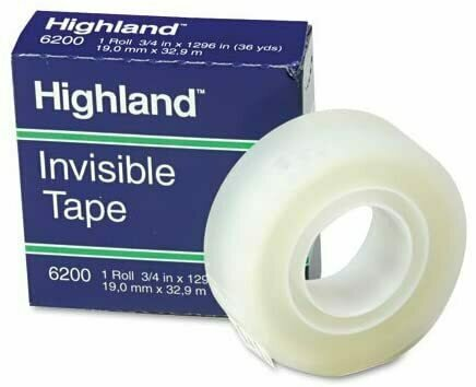 Tape Highland, Invisible 6200, 3/4 in x 1296 in Boxed