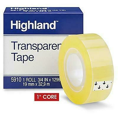 Tape Highland, Transparent 5910, 3/4 in x 1296 in Boxed