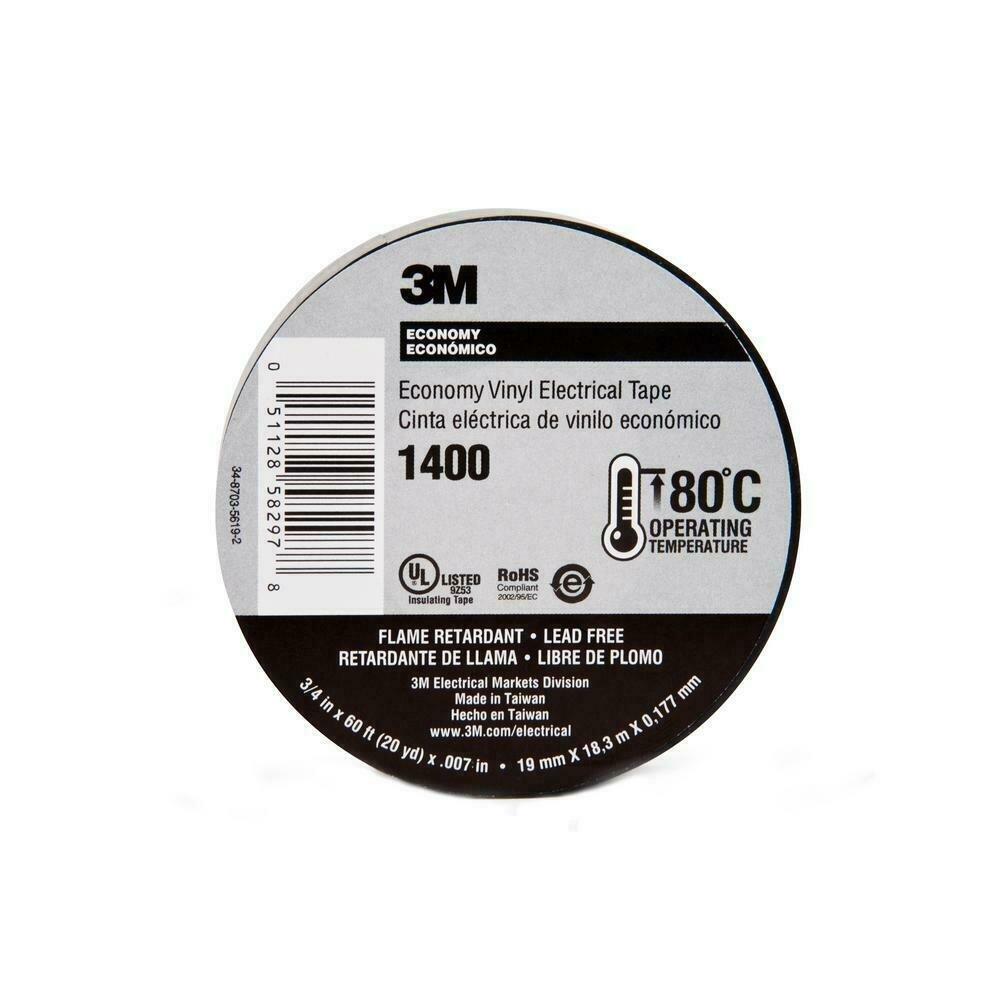 Tape Scotch Electrical Vinyl Black 3/4in x 60ft