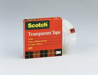 "Tape Scotch Transparent 600 1/2"" x 36 yds."