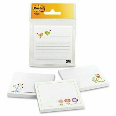 "Self-Stick Pads, Post-it Designer 3""x 3"" Assorted Designs, BC"