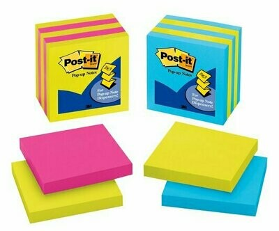 "Self-Stick Pads, Post-it 3""x 3"" Assorted Colors Pop-up"