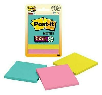 "Self-Stick Pads, Post-it 3""x 3"" Assorted Colors Super Sticky"