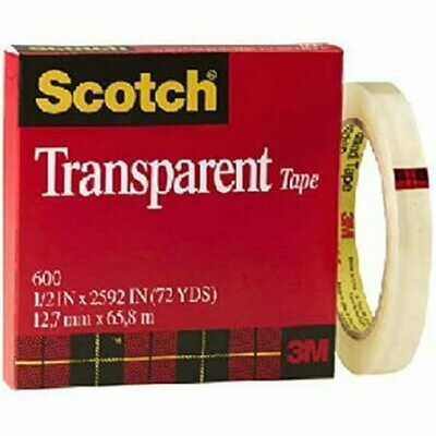 "Tape Scotch Transparent 600 1/2"" x 72 yds"