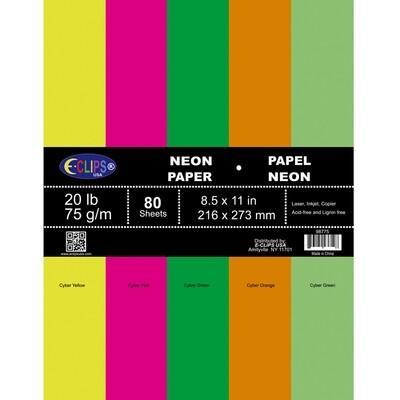 Paper Letter Size Neon Colors 80ct