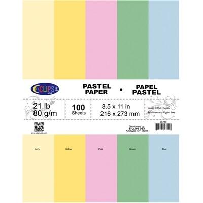 Paper Letter Size Pastel Colors 100ct