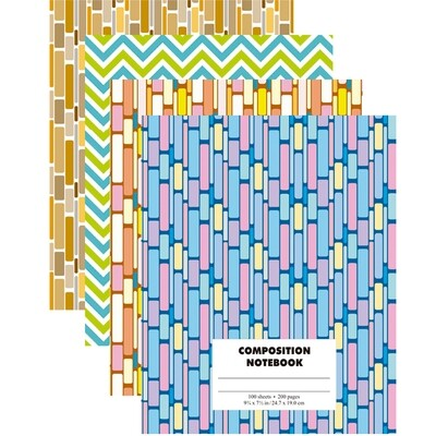 Notebook Composition 200 Pages Hardcover Geometric Design [Each]