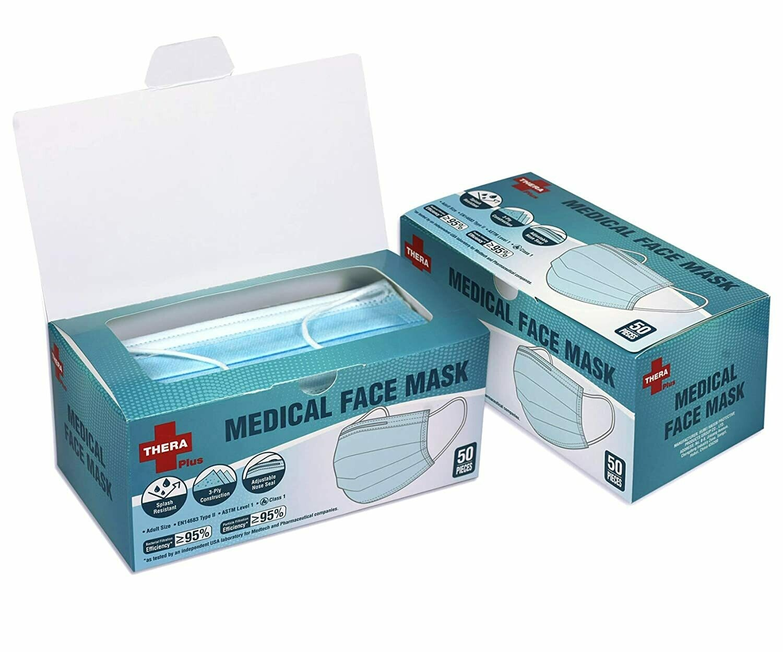 Face Mask 3-Ply Adult Size 50pcs EN14683 Type II