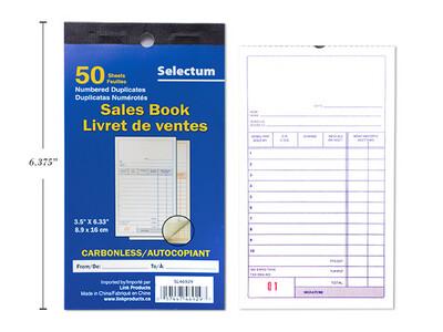 Carbonless Sales Book 50 Shts, Duplicate