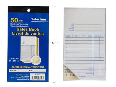 Tri Carbonless Sales Book 50 Shts.