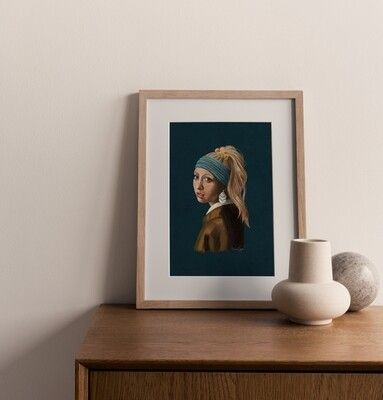Girl with the Polymer Clay Earring Print