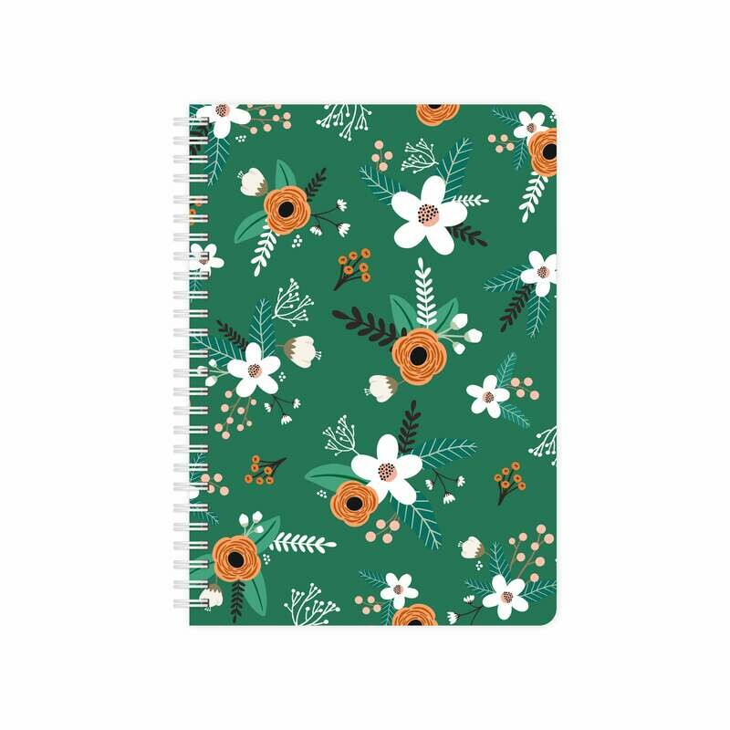 Купить Smart-планер с обложкой Flat flowers green