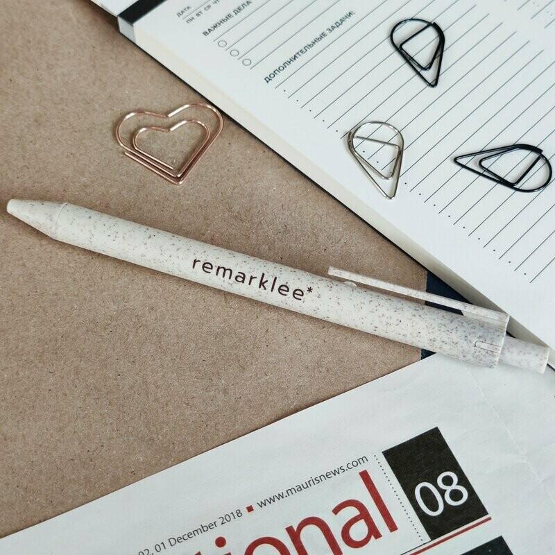 Эко-ручка из зерноволокна бежевая, синие чернила