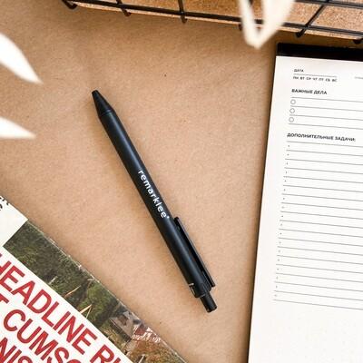 Эко-ручка из зерноволокна черная, синие чернила