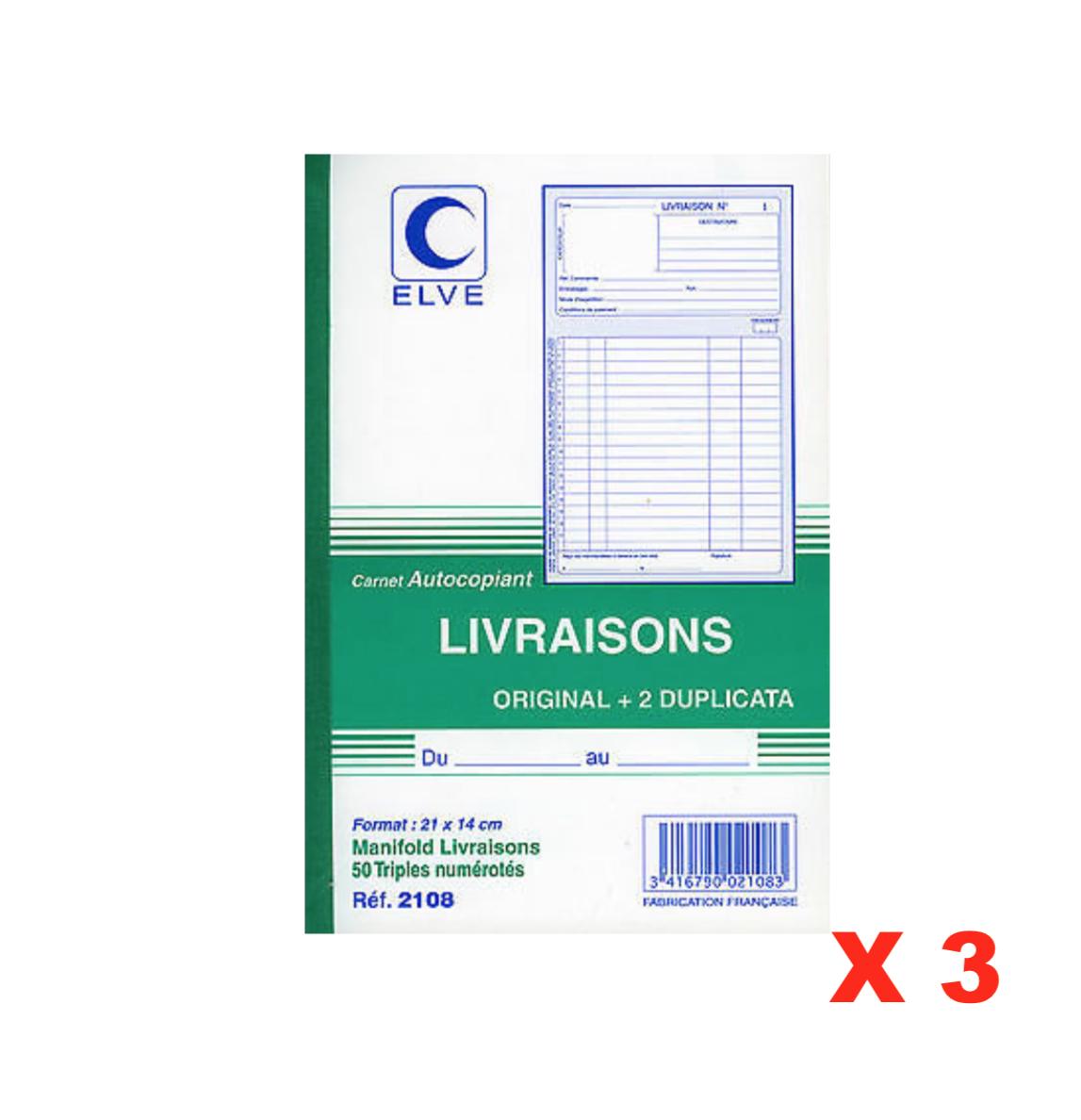 ELVE CARNET AUTOCOPIANT LIVRAISONS ORIGINAL + 2 DUPLICATA 3416790021083 STORE SHOP OFFICE ORDER COMASOUND KARTEL