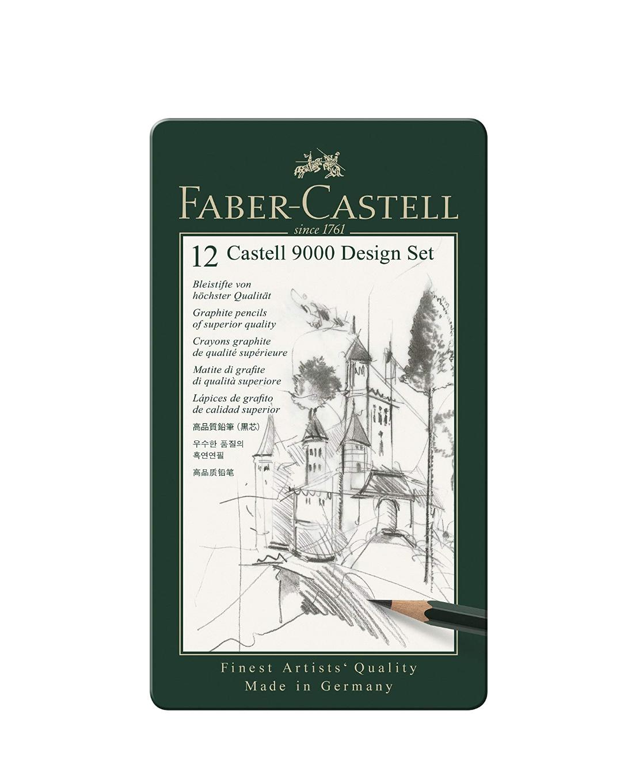FABER CASTELL 12 CASTELL 9000 DESIGN SET PACK CRAYONS GRAPHITE PENCILS SUPERIOR QUALITY ART DRAW DESSIN 4005401190646 COMASOUND KARTEL