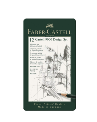 FABER CASTELL 12 CASTELL 9000 DESIGN SET PACK CRAYONS GRAPHITE PENCILS SUPERIOR QUALITY ART DRAW DESSIN 4005401190646 COMASOUND KARTEL