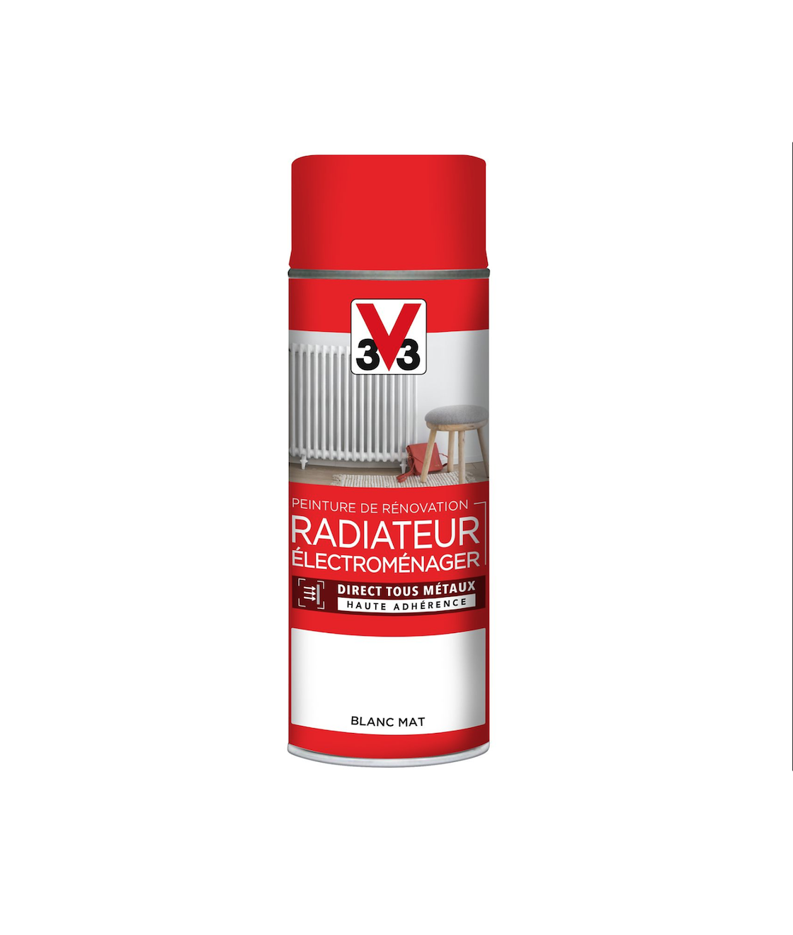 V33 AEROSOL PEINTURE RENOVATION RADIATEUR ELECTROMENAGER BLANC MAT SPRAY CAN BOMBE BRICOLAGE DECORATION MAISON 3153895121149 COMASOUND KARTEL CSK ONLINE